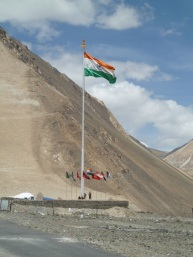 Indian flag at military base at Pangong Tso