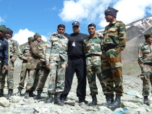 With soldiers near Pangong