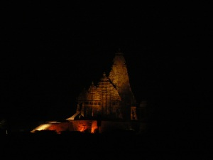 Kandariya Mahadev temple at night