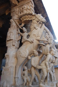 Vijayanagara cavalry on pillar at 1000 Pillar Hall, Srirangam